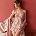 性感吊带睡裙女夏季冰丝薄款睡袍两件套装蕾丝情趣睡衣春秋骚小胸