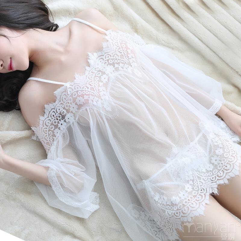 性感睡衣女透明骚蕾丝诱惑情趣吊带睡裙夏季激情冰丝大码火辣挑逗