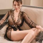 性感透明薄款睡衣女骚短睡袍情趣内衣服薄纱开衫系带冰丝诱惑套装
