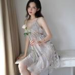 春夏季薄款性感睡衣诱惑侧开叉女蕾丝镂空显瘦吊带美背短情趣睡裙