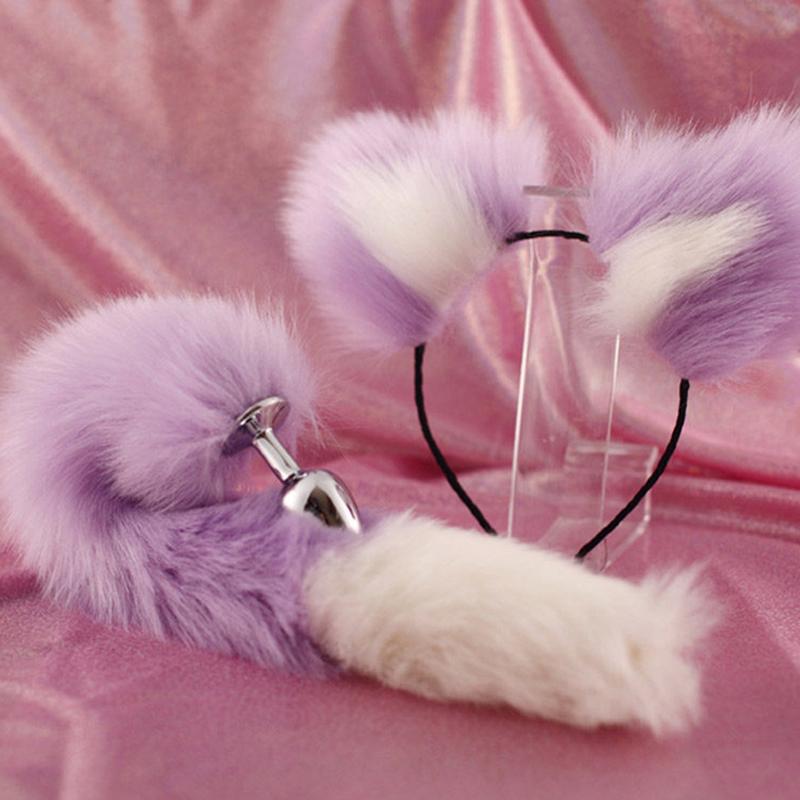 粉色尾巴cos后庭发卡肛塞狐狸猫咪可爱女用小号毛毛套装女情趣猫