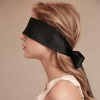 欧美高端黑色丝滑绑带烫钻束缚绸缎眼罩 情趣配饰