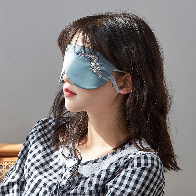 真丝绸缎眼罩睡眠耳塞遮光睡觉护眼透气舒适绣花眼罩舒缓眼疲劳