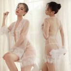 情趣内衣女式透明性感蕾丝走光连衣裙睡裙制服诱惑薄纱吊带裙睡衣